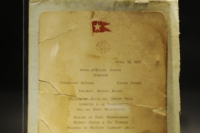 A lunch menu for the Titanic is on display at Bonham's auction house in New York April 10, 2012. (Keith Bedford/Reuters)