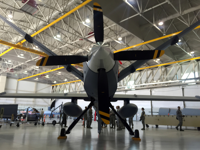 The MQ-9 Reaper is powered by a rear propeller shown Tuesday, June 16, 2015, in a hangar at Creech Air Force Base, 45 miles northwest of Las Vegas. (Keith Rogers/Las Vegas Review-Journal)
