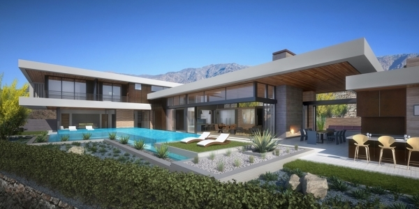 An artist's rendering of SB Architects' showcase home at Ascaya in Henderson shows the desert modern architecture. (Courtesy)