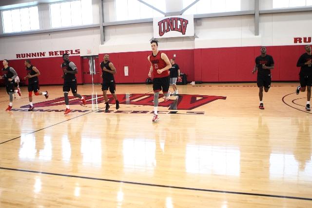 UNLV basketball players run during practice inside Mendenhall Center at UNLV in Las Vegas Thursday, Sept. 24, 2015. (Erik Verduzco/Las Vegas Review-Journal) Follow @Erik_Verduzco