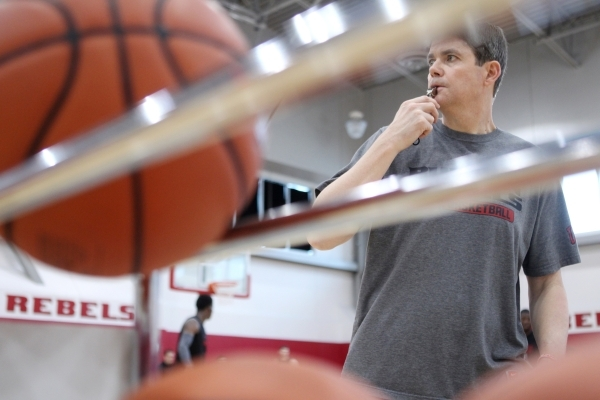 UNLV's basketball head coach Dave Rice blows the whistle during a team practice inside Mendenhall Center at UNLV in Las Vegas Monday, Oct. 5, 2015. (Erik Verduzco/Las Vegas Review-Journal)