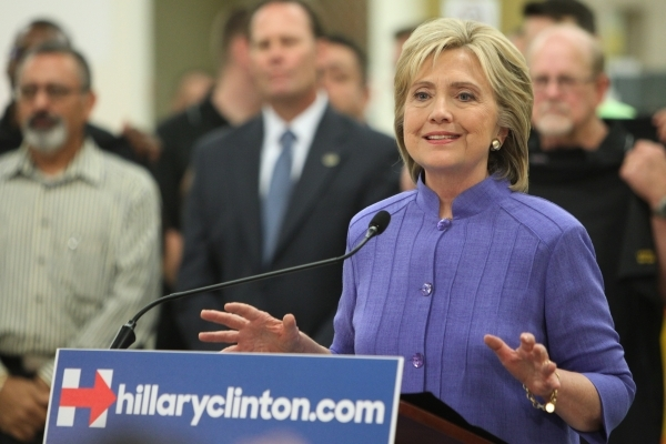 Democratic presidential candidate Hillary Clinton speaks to the media at the International Union of Painters and Allied Trades headquarters in Henderson, Nev., Wednesday, Oct. 14, 2015. Erik Verdu ...