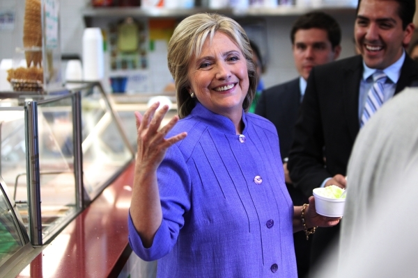 Democratic presidential candidate Hillary Clinton stands inside the Flor De Michoacan ice cream shop in North Las Vegas, Nev., Wednesday, Oct. 14, 2015. Erik Verduzco/Las Vegas Review-Journal Foll ...