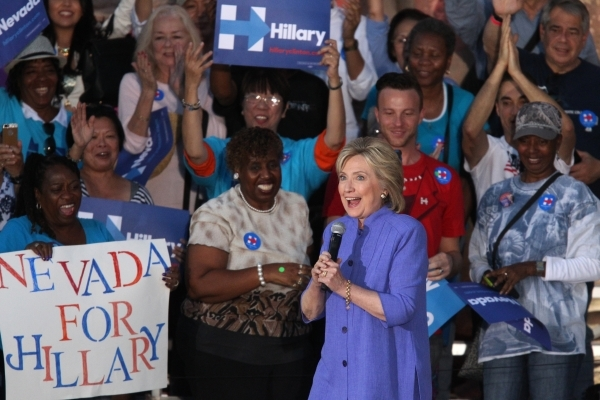 Democratic presidential candidate Hillary Clinton is greeted to the stage by supporters at Springs Preserve in Las Vegas Wednesday, Oct. 14, 2015. Erik Verduzco/Las Vegas Review-Journal Follow @Er ...