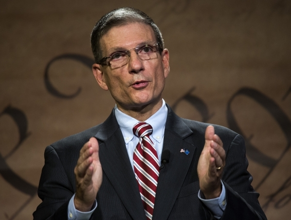 Rep. Joe Heck, R-Nev. during a debate with Democratic challenger, Erin Bilbray, at Vegas PBS on Thursday, Oct. 16,2014. Heck represents the 3rd Congressional District in Southern Nevada, which inc ...