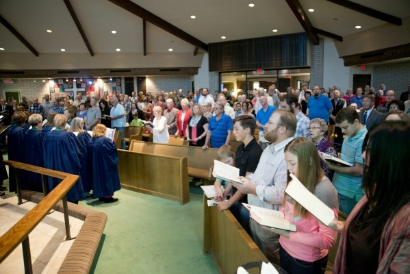 Members of First Good Shepherd Lutheran Church sing during services celebrating their 75th anniversary on Sunday, Oct. 18, 2015. Daniel Clark/Las Vegas Review-Journal