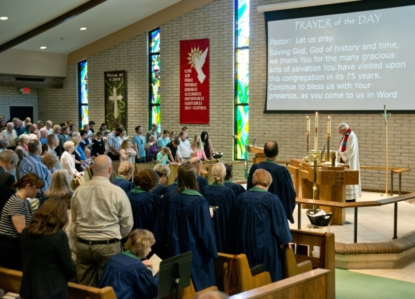 Members of First Good Shepherd Lutheran Church pray during services celebrating their 75th anniversary on Sunday, Oct. 18, 2015. Daniel Clark/Las Vegas Review-Journal