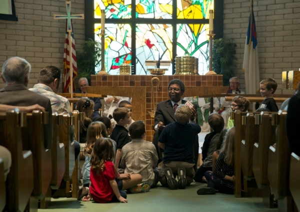 Ken Foster speaks to the children of First Good Shepherd Lutheran Church during services celebrating their 75th anniversary on Sunday, Oct. 18, 2015. Daniel Clark/Las Vegas Review-Journal