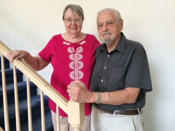 Nadia and Jordan Romeo pause Aug. 6 while talking about how Nadia's mother and aunt were active in the Czech underground during World War II. Her mother, Vera, helped with secret radio broad ...