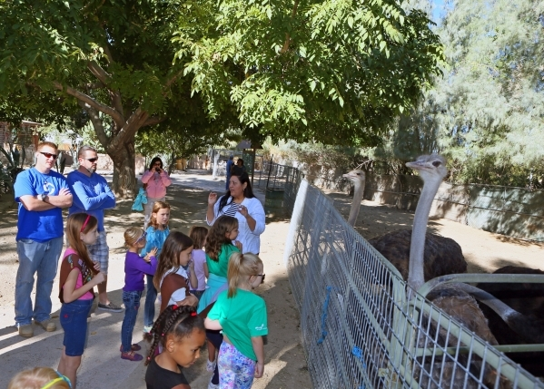 Volunteer and guide Sandra Salinas, back center, speaks to a tour group at Gilcrease Nature Sanctuary Saturday, Oct. 24, 2015, in Las Vegas. The sanctuary, located at 8103 Racel St., was establish ...