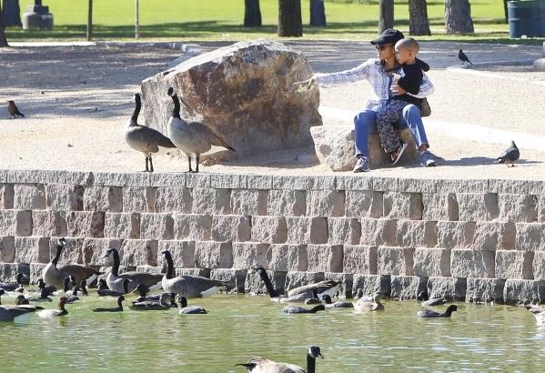 Darryl Taylor, 4, and his mother, Bonnie, of Las Vegas enjoy the cool weather at Sunset Park, near McCarran International Airport, Monday, Oct. 26, 2015. (Bizuayehu Tesfaye/Las Vegas Review-Journa ...