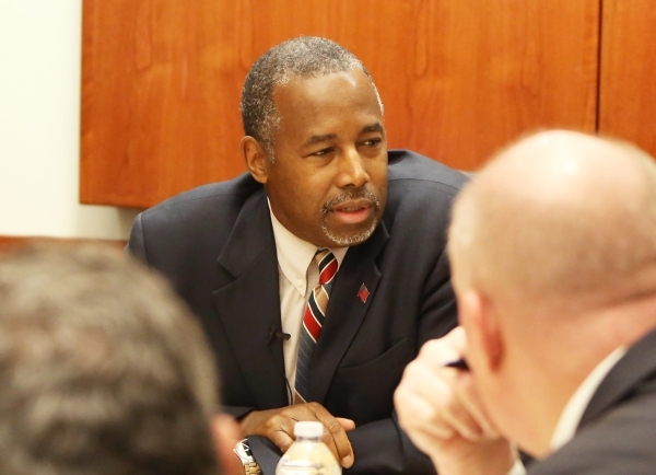 Republican presidential candidate Dr. Ben Carson speaks to the Las Vegas Review-Journal editorial board on Monday, Nov. 23, 2015. Bizuayehu Tesfaye/Las Vegas Review-Journal Follow @bizutesfaye