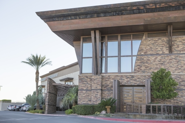 A view of the front entry at Golden Entertainment's company offices is shown at 6595 S Jones Blvd, in Las Vegas, Monday, Nov. 2, 2015. Donavon Lockett/Las Vegas Review-Journal