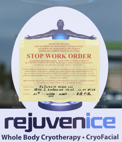 """A """"Stop Work Order"""" sign is shown on the front door of Rejuvenice on Tuesday, Oct. 27, 2015 where Chelsea Ake-Salvacion, 24, of Las Vegas worked and died on Oct. 20 at 8846 S. Eastern Av ..."""