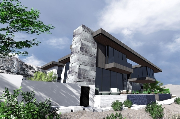 The rear view of a home to be built in the Ascaya luxury development in Henderson is shown in this rendering made available to the Las Vegas Review-Journal, Monday, July 6, 2015. The builder is ex ...