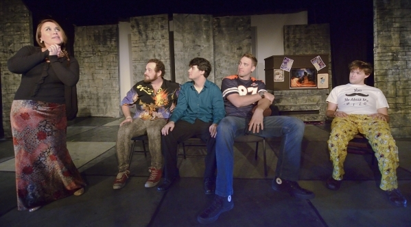 """Shana Brouwers (cq), from left, Mick Axelrod, Gerald Hallowell, Ryan Hess and Eric Angell rehearse for """"Mister WivesÓ at the Onyx Theatre at 953 E. Sahara Ave. in Las Vegas on Saturday, Oc ..."""