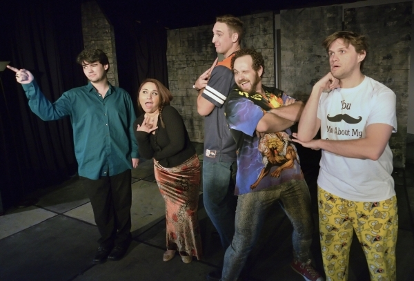 """Gerald Hallowell, from left, Shana Brouwers (cq), Ryan Hess, Mick Axelrod and Eric Angell rehearse for """"Mister WivesÓ at the Onyx Theatre at 953 E. Sahara Ave. in Las Vegas on Saturday, Oc ..."""