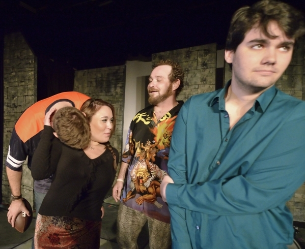 """Shana Brouwers (cq), second from left, and, from left, Ryan Hess, Mick Axelrod and Gerald Hallowell rehearse for """"Mister WivesÓ at the Onyx Theatre at 953 E. Sahara Ave. in Las Vegas on Sa ..."""