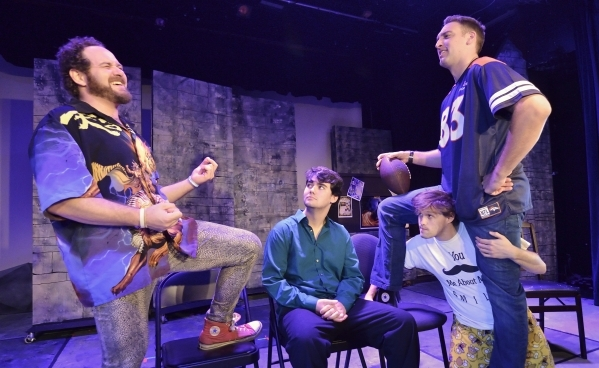"""Mick Axelrod, left, Gerald Hallowell, center, Eric Angell, kneeling, and Ryan Hess rehearse for """"Mister WivesÓ at the Onyx Theatre at 953 E. Sahara Ave. in Las Vegas on Saturday, Oct. 31,  ..."""
