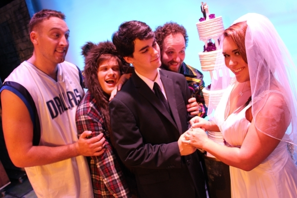 """Three happy husbands welcome a fourth in """"Mister Wives,"""" a musical """"Sister Wives"""" satire that begins its world-premiere run Thursday at the Onyx Theatre. COURTESY ONYX THEATRE"""