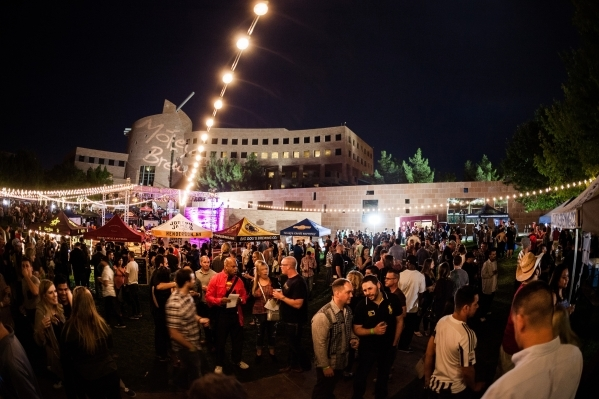 Thousands gathered Oct. 24, 2015 at the Clark County Government Center Amphitheater for the annual Downtown Brew Festival. The event featured craft beers, food and live entertainment. (Fred Morled ...