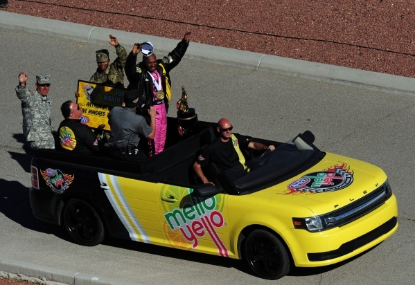 Top Fuel driver Antron Brown is seen after clinching the NHRA Top Fuel championship during eliminations for the Mello Yello NHRA Drag Racing Series Toyota Nationals at the Strip at Las Vegas Motor ...