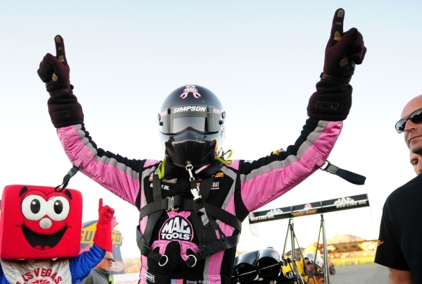 Top Fuel driver Doug Kalitta celebrates after winning Mello Yello NHRA Drag Racing Series Toyota Nationals at the Strip at Las Vegas Motor Speedway Sunday, Nov. 1, 2015. Josh Holmberg/Las Vegas Re ...