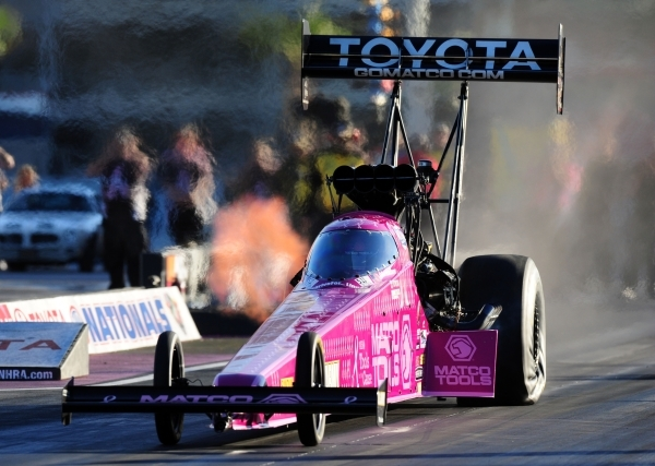 Top Fuel driver Antron Brown is seen during the third round of eliminations during the Mello Yello NHRA Drag Racing Series Toyota Nationals at the Strip at Las Vegas Motor Speedway Sunday, Nov. 1, ...