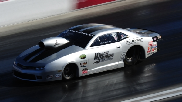 Pro Stock driver Chris McGaha makes a pass during the second round of eliminations during the Mello Yello NHRA Drag Racing Series Toyota Nationals at the Strip at Las Vegas Motor Speedway Sunday,  ...