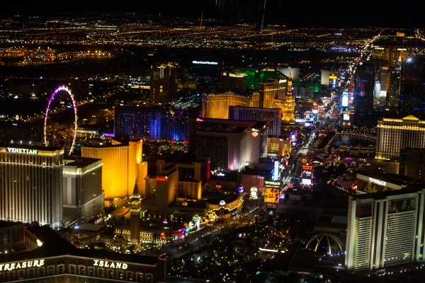 A view of the Las Vegas Strip is shown during a helicopter ride as part of a holiday party at Sundance Helicopters in Las Vegas on Thursday, Oct. 29, 2015. Chase Stevens/Las Vegas Review-Journal F ...