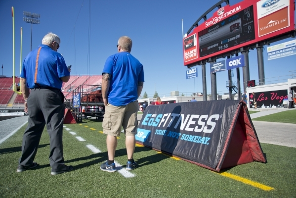 EOS Fitness signage is seen inside Sam Boyd Stadium before their game against Boise State on Saturday, Oct. 31, 2015. A number of sponsors have signed up or increased their commitments this season ...