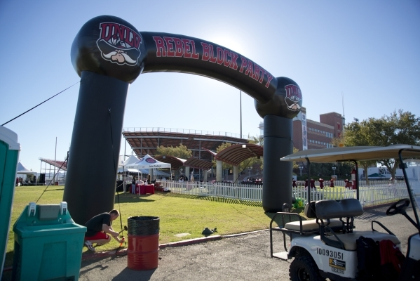 A large inflatable archway is seen during the UNLV Rebel Block Party outside Sam Boyd Stadium before their game against Boise State on Saturday, Oct. 31, 2015. A number of sponsors have signed up  ...