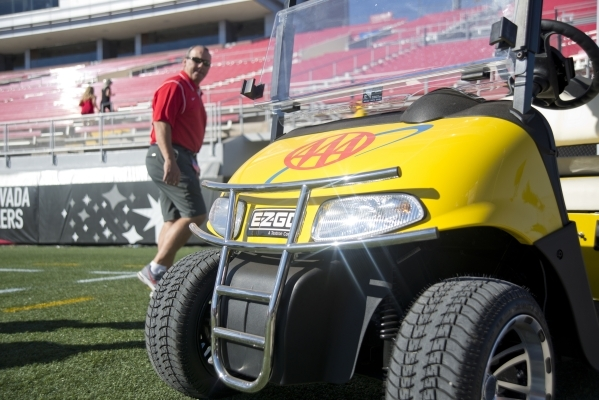 A AAA branded golf cart is seen inside Sam Boyd Stadium before the UNLV game against Boise State on Saturday, Oct. 31, 2015. A number of sponsors have signed up or increased their commitments this ...