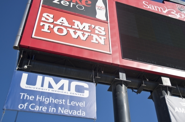 New signage for University Medical Center is seen inside Sam Boyd Stadium before the UNLV game against Boise State on Saturday, Oct. 31, 2015. A number of sponsors have signed up or increased thei ...