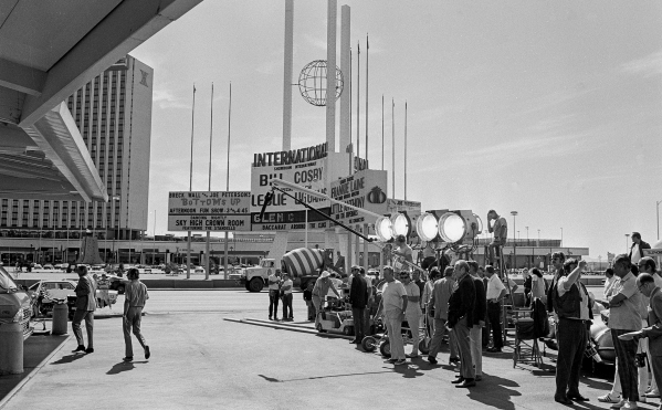 """Production of the James Bond movie  """"Diamonds Are Forever"""" starring Sean Connery and Jill St. John in front of the International Hotel and Casino, (later the Las Vegas Hilton Hilton and  ..."""