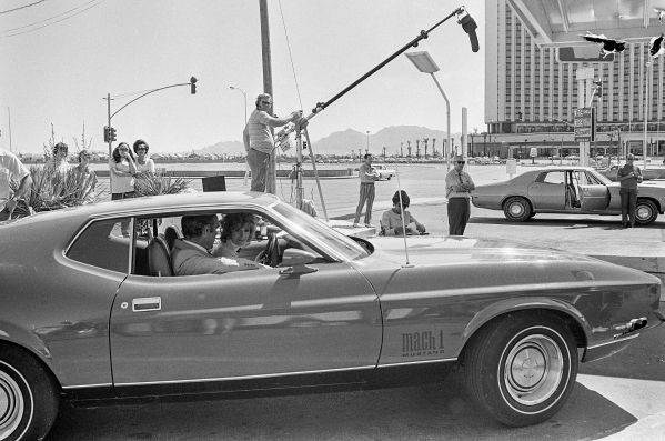 "Production of the James Bond movie  ""Diamonds Are Forever"" starring Sean Connery and Jill St. John in front of the International Hotel and Casino, (later the Las Vegas Hilton Hilton and  ..."