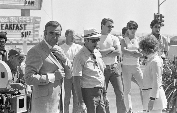 """Production of the James Bond movie  """"Diamonds Are Forever"""" starring Sean Connery, left, and Jill St. John in front of the International Hotel and Casino, (later the Las Vegas Hilton Hilt ..."""