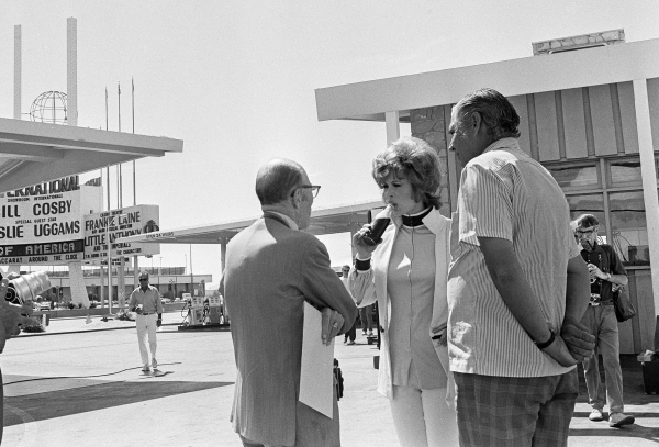 """Production of the James Bond movie  """"Diamonds Are Forever"""" starring Sean Connery and Jill St. John, center, in front of the International Hotel and Casino, (later the Las Vegas Hilton Hi ..."""