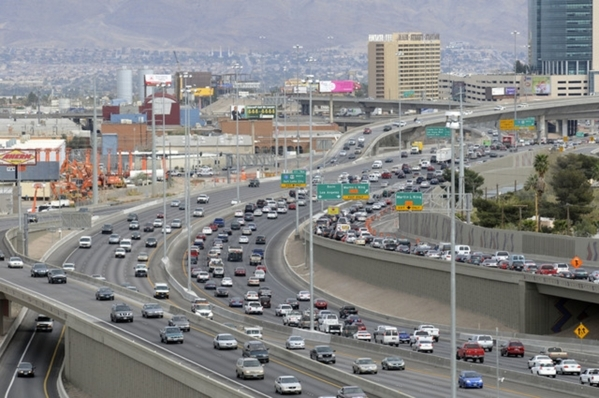 Traffic moves along on U.S. Highway 95 near the Spaghetti Bowl, March 20, 2009. (View file photo)