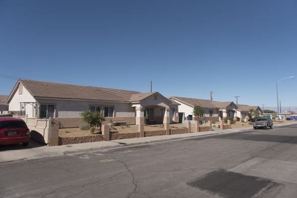 Three of six homes built by Habitat for Humanity near the intersection of Merlayne Drive and Merze Ave. in Henderson are shown Friday, Oct. 30, 2015. Jason Ogulnik/Las Vegas Review-Journal