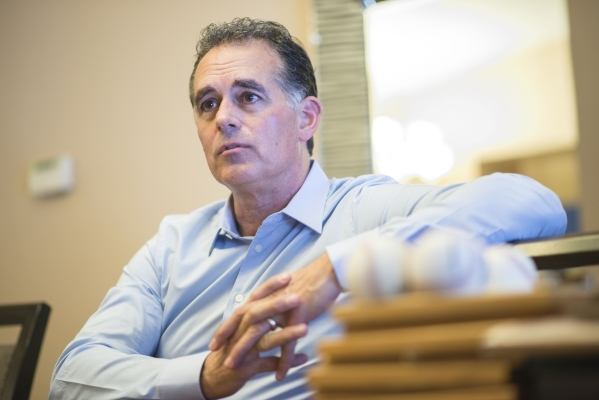 Danny Tarkanian talks to a reporter at his home in Las Vegas on Friday, Oct. 30, 2015. Tarkanian recently announced that he is running for Nevada's 3rd Congressional District. Jacob Kepler/L ...