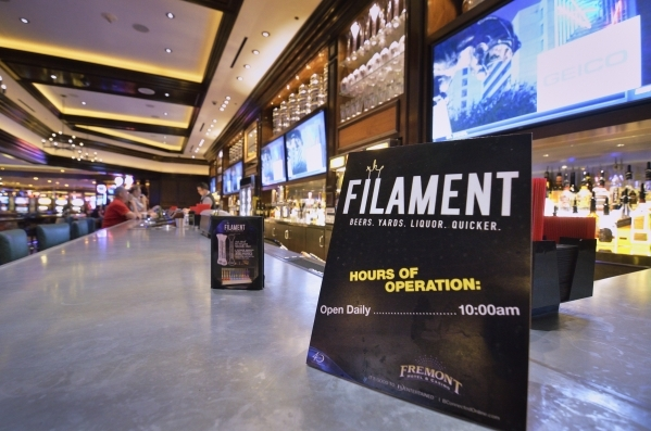 The Filament Bar is shown at the Fremont hotel-casino at 200 Fremont St. in Las Vegas on Monday, Nov. 2, 2015. Bill Hughes/Las Vegas Review-Journal
