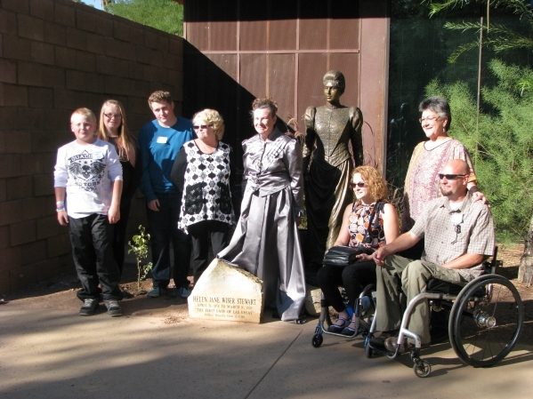 Following the unveiling ceremony of a plaque honoring Helen Stewart on Oct. 31 2015 at the Old Las Vegas Mormon Fort, 500 E. Washington Ave Linda Miller posed with seven descendents of Helen Stewa ...