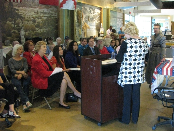 Descendants of Helen Stewart were among the speakers at the unveiling ceremony of a plaque honoring Helen Stewart on Oct. 31 2015 at the Old Las Vegas Mormon Fort, 500 E. Washington Ave.  (F. Andr ...