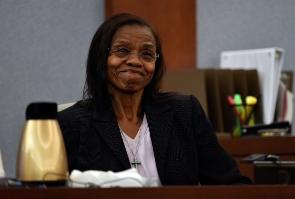 Jean Trimble, the older sister of murder victim Michael Bolden, gives her testimony during Ammar Harris's penalty hearing at the Regional Justice Center on Monday, Nov. 2, 2015, in Las Vegas ...