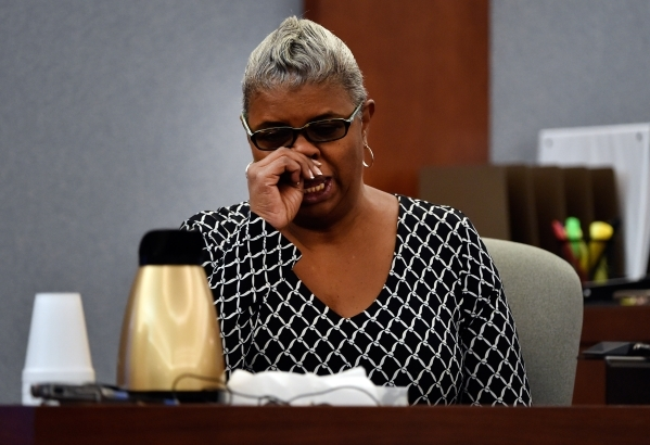 Gigi Boldon, the younger sister of murder victim Michael Bolden, gives her testimony during Ammar Harris's penalty hearing at the Regional Justice Center on Monday, Nov. 2, 2015, in Las Vega ...
