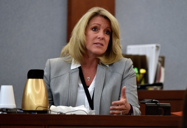 Las Vegas homicide detective Terri Miller speaks on the witness stand during Ammar Harris's penalty hearing at the Regional Justice Center on Monday, Nov. 2, 2015, in Las Vegas. Harris, who  ...