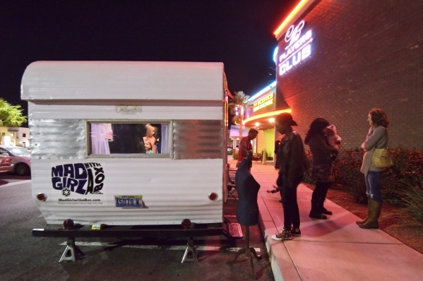 The exterior of Mad Girl with a Box, a mobile retail business specializing in geeky merchandise, is shown during a business launch party at High Scores Bar-Arcade at 65 S. Stephanie St. in Henders ...