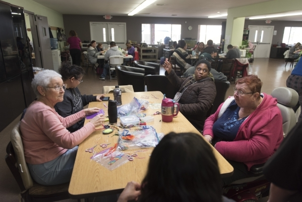 Clients make crafts at the new Transition Services Inc. facility at 6100 W. Cheyenne Ave. in Las Vegas Wednesday, Nov. 4, 2015. Jason Ogulnik/Las Vegas Review-Journal