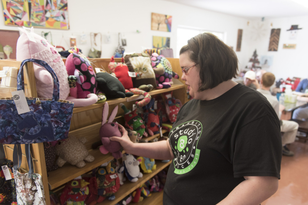 CeCe Hitchcock shows the gift store during a tour of the new Transition Services Inc. facility at 6100 W. Cheyenne Ave. in Las Vegas Wednesday, Nov. 4, 2015. Jason Ogulnik/Las Vegas Review-Journal
